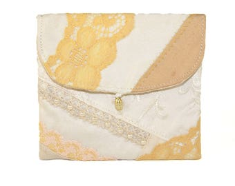 Wedding Pouch, Handmade Embellished Patchwork, Silk Lace & Pearls Textile Purse