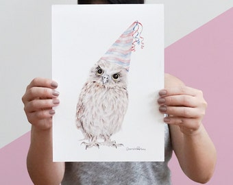 Woodland Nursery Art, Woodland Creatures Art, Owl Wall Art, Woodland Owl With Party Hat Art Print