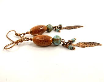 Long Copper Earrings, Burnt Orange and Turquoise Green Boho Feather Jewelry
