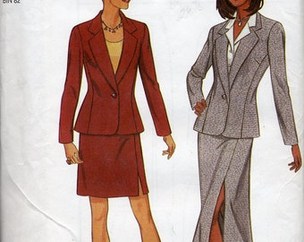 Two-piece Suit w/ Jacket & long or shorter skirt, sizes 6-16, UNCUT - New Look 6701