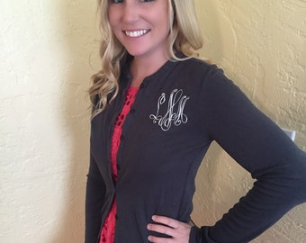 Monogrammed Button Front Cardigan (Great for Sorority Letters Too!)