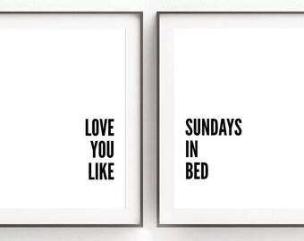 Bedroom Wall Decor, Digital Prints, Romantic Wall Art, Gallery Wall Decor, Set of 2 Prints, Quotes, Printable Art, Xmas Gift Girlfriend