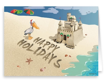 Holiday Sand Castle Beach Holiday Card 18 Cards & Envelopes - 30034