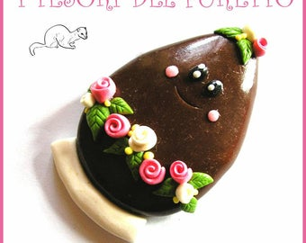"Easter brooch ""egg chocolate Milk"" Fimo grouper Press Kawaii gift idea customizable with name Christmas jewelry girl Woman"