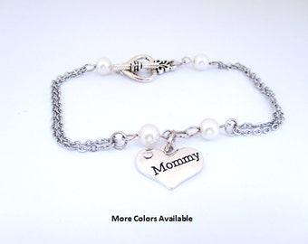 Mommy Pearl & Charm Bracelet - Mommy gift-Mommy jewelry-Mommy birthday gift-Mommy bracelet-Mommy-New Mommy gift-Wedding shower jewelry, B602