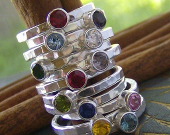 Faceted gem stone stacking rings... fine and sterling silver personalized rings