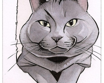 6x8 Custom Watercolor Pet Animal Portrait