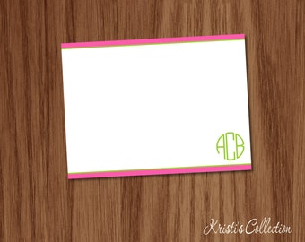Personalized Preppy Note Card Set - Personal Monogrammed Stationery Stationary Custom Cards for Mom Girls Teens Ladies - Circle Monogram