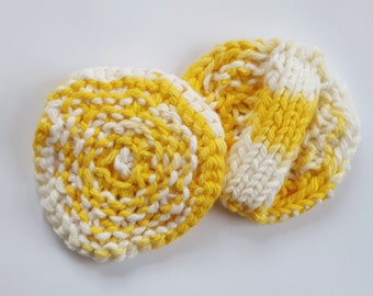 White and Yellow Cotton Facial Scrubbies // Hand Knit // Spa Gift