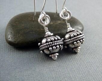 Bali Earrings, 25th Anniversary Gift, Silver Ball Earrings, Sterling Silver Drop Earrings, Fancy Earrings, 925 Silver Dangle Earrings