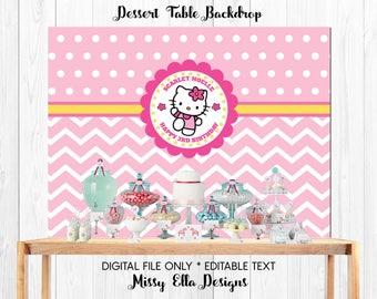 Pink Hello Kitty Dessert Table Backdrop // Hello Kitty Party // Polka Dots & Chevron // Personalized Party Backdrop // Digital Printable