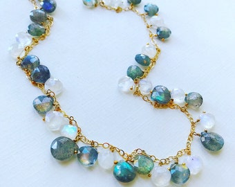 Long Labradorite and Moonstone Briolette Necklace