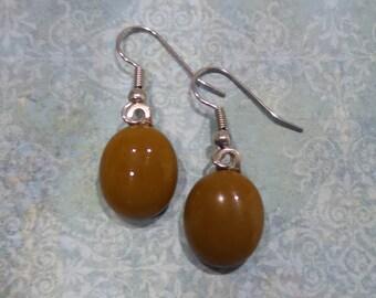 Brown Earrings, Pierced Dangle Earrings, Hypoallergenic, Brown Jewelry, Ear Jewelry, Fused Glass Jewelry - Brownie- 180 -5