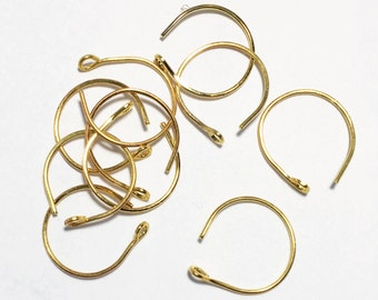 100 pcs of gold plated steel earwire 15X14mm - 22 gauge  Made in USA