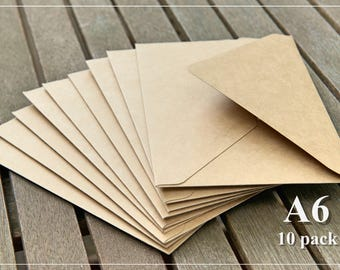 10 Kraft Envelopes - A6 Size - Durable - Invitation Envelopes/Baby Shower/Special Occasion/Birthday/Greeting Cards