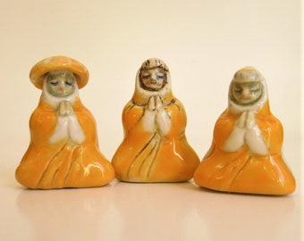 Namaste Lady in Yellow Robes Ceramic Miniature Figurine Little Meditation Folk Art