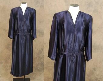 vintage 40s Dress - Navy Blue Satin Dress - 1940s Draped Sash Cocktail Dress Sz L XL