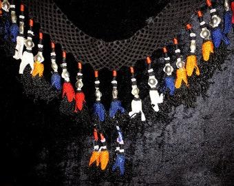 Special vintage Uzbek nomadic Lakay silk hand woven decoration  pendant with tassels tribal decor for nomad yurt #296