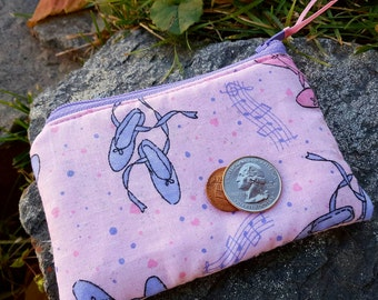Ballerina Coin Purse, Girls Zipper Wallet, Pink Change Purse, Girls Change Purse, Ear Bud Pouch, Lunch Money Pouch