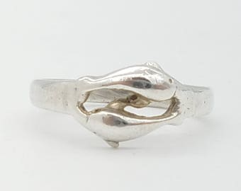 Vintage  Sterling Silver Double Dolphin Ring - Size 7