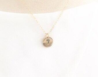 Number Necklace, Badge Number Necklace, Team Number Necklace, Dainty Gold Necklace, lucky number necklace, Personalized Gift for her