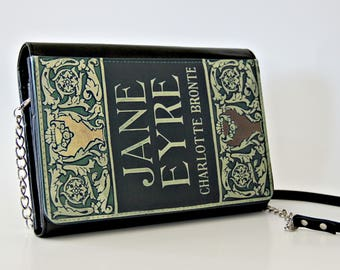 Jane Eyre Bronte Book Cover  Faux Leather Purse Handbag