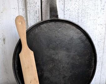 Antique French Black Cast Iron Crepe Pancake Galette Vintage Frying Pan Skillet