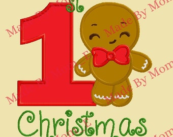 1st Christmas Gingerbread Man Applique