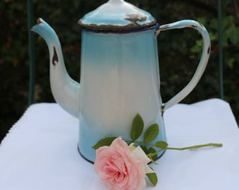 Original 1940's blue enamel coffee pot. Used vintage condition. French Vintage Shabby Chic