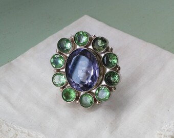 Flower ring green and silver purple amethyst Sterling