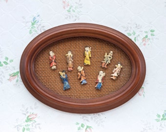 Vintage Oval frame with Miniature Oriental Celluloid Figures - Tiny mudmen - Boho Home Decor