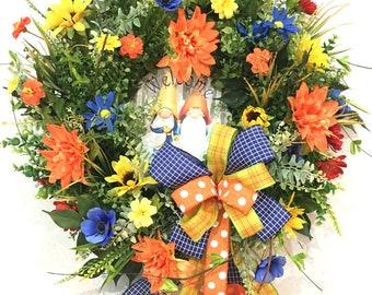 Welcome Wreath, Summer Wreath, Front Door Decor, Grapevine Wreath, Fall Wreath with Gnome Welcome Sign, Porch Decor