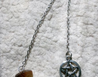 Tiger's Eye Pendulum with Bead and Pentacle