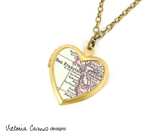 San Francisco Map Necklace, Vintage Heart Locket, Antique Map Jewelry, Map Locket, SF Bay Area, Oakland - Brass or Silver