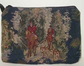 Equestrian Horse Hunt Fox Scene  Tapestry Large Cosmetic  Clutch
