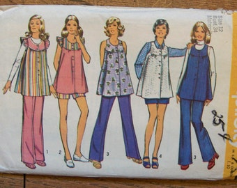 vintage 70s simplicity pattern 5421 MATERNITY smock top and pants sz 12 b34