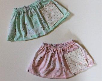 Mermaid Pocket Girls Skirt, Enchanted Ocean Print Girls Skirt, Knee Length Cotton Skirt, Toddler, Baby Skirt