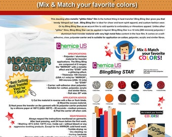 3 Yards Chemica BLING BLING STAR Heat Transfer Vinyl (Mix & Match your favorite colors) ***Free Shipping***