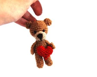 BROWN BEAR doll, gift for Valentine's day, miniature bear, tiny crocheted bear, amigurumi bear, love bear, teddy bear, gift for her