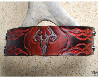 "Deer skull tooled leather cuff - 6.5"" wearable size"