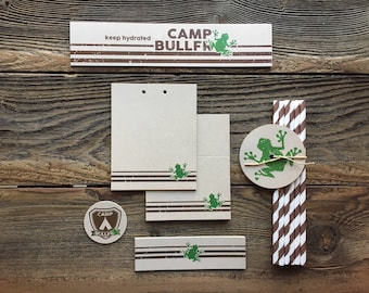 Camp Bullfrog - Camp Theme Party - Campout Outdoor Party - Wilderness - Food & Drinks - Tags, Paper Straws, Bottle Label