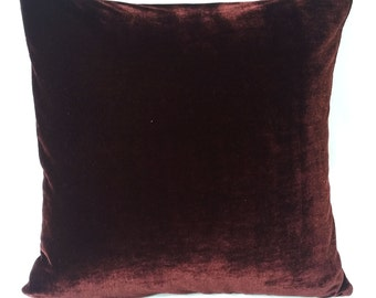 Dark brown velvet pillow. Chocolate brown throw pillow, velvet pillow cover, velvet cushion Brown luxury pillow.  18 inches. Custom made