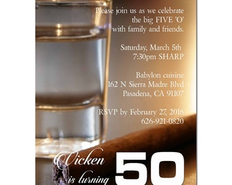 50 40 birthday Tequila glass and brown cigar invitation, party, celebration, company party, surprise, birthday, man party #279-IN