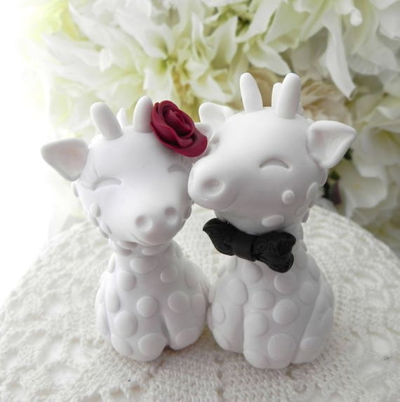 Giraffe Wedding Cake Topper, Bride and Groom Keepsake, White, Burgundy, Black, Custom Colors Available