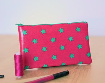 Pencil case pink fuchsia with emerald green stars