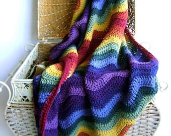 Crochet Pattern - for Rainbow Ripple Baby Blanket - Easy Advanced Beginner Pattern INSTANT DOWNLOAD