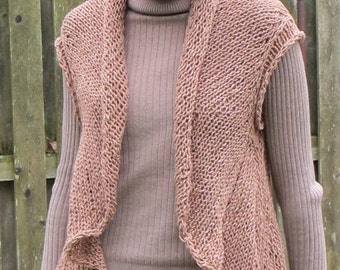 One Piece Vest, a pdf knitting pattern for a cardigan vest with a rolled shawl collar.