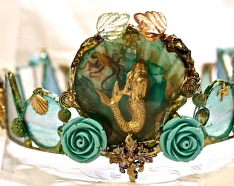 Mermaid Crown - Magic Waters- One of a kind Piece - Faerie Queen of the Waters - Mermaiden Wearable Crown