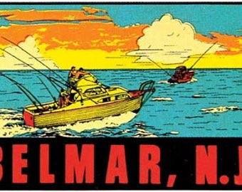 Vintage Style Belmar New Jersey  NJ Boating shore coast beach  1950's    Travel Decal sticker