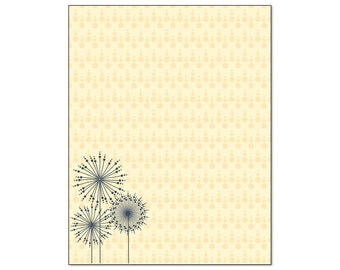 Modern Dandelion Border Stationery -  Letterhead -8.5 x 11 inches - 60 Paper Sheets - B6503